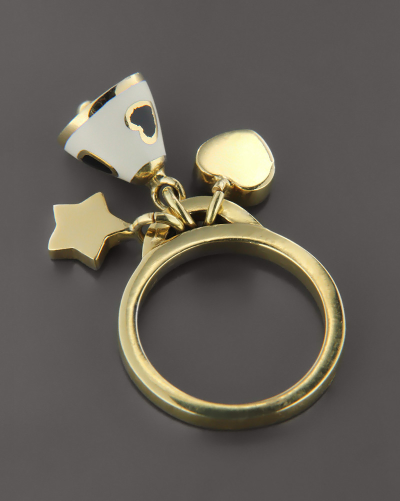 Δαχτυλίδι χρυσό Κ18 με Σμάλτο   γυναικα κοσμήματα με καρδιές