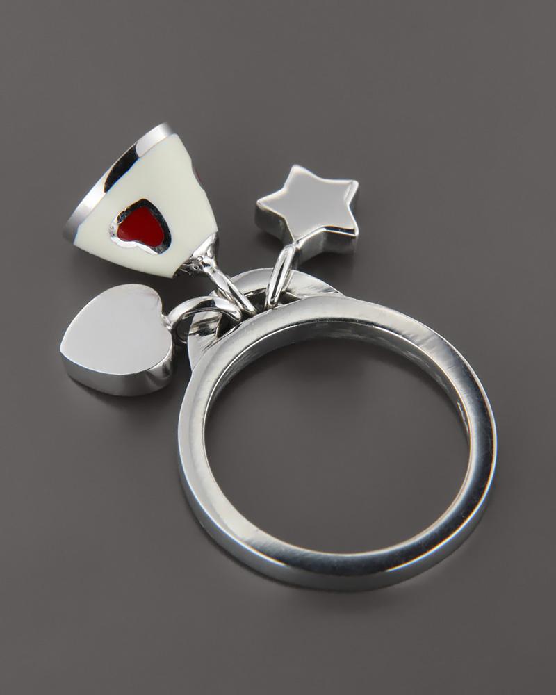 Δαχτυλίδι λευκόχρυσο Κ18 με Σμάλτο   γυναικα δαχτυλίδια δαχτυλίδια λευκόχρυσα