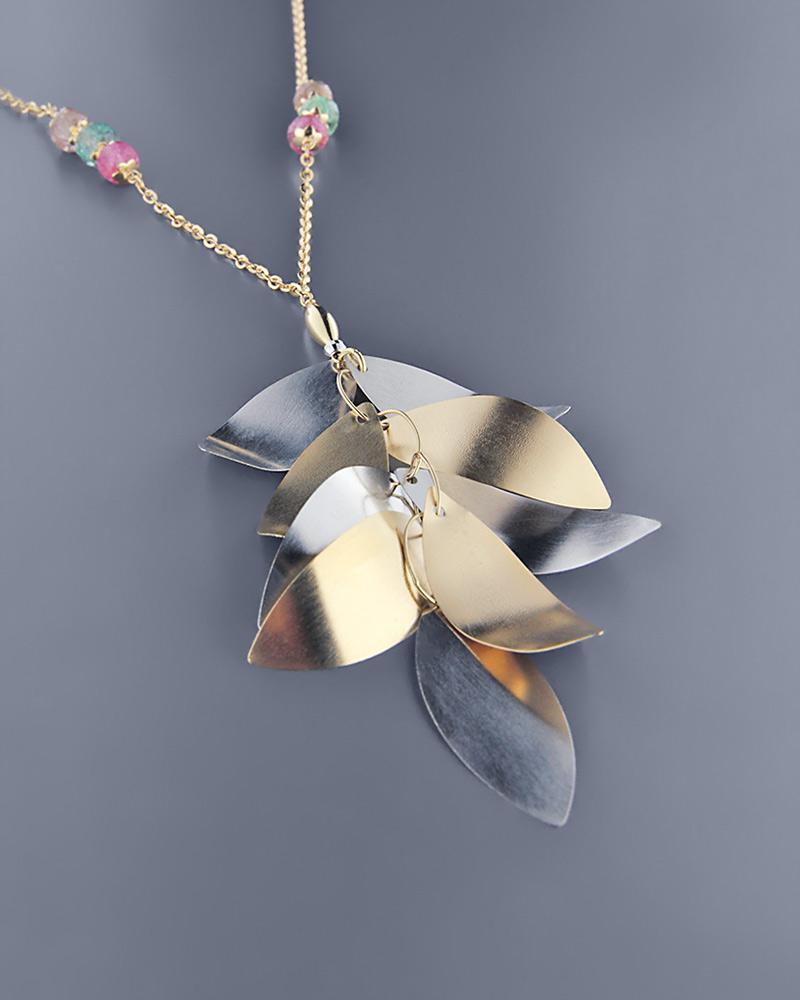 Κολιέ χρυσό & λευκόχρυσο Κ18 με Quartz   γαμοσ δώρα κουμπάρου κουμπαρα