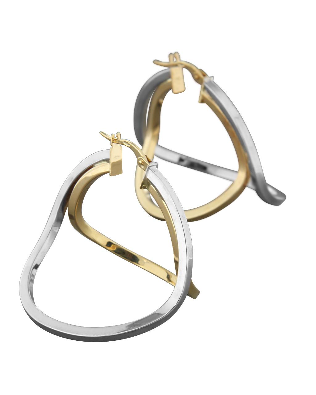 Σκουλαρίκια κρίκοι λευκόχρυσα & χρυσά Κ18   γυναικα σκουλαρίκια σκουλαρίκια κρίκοι