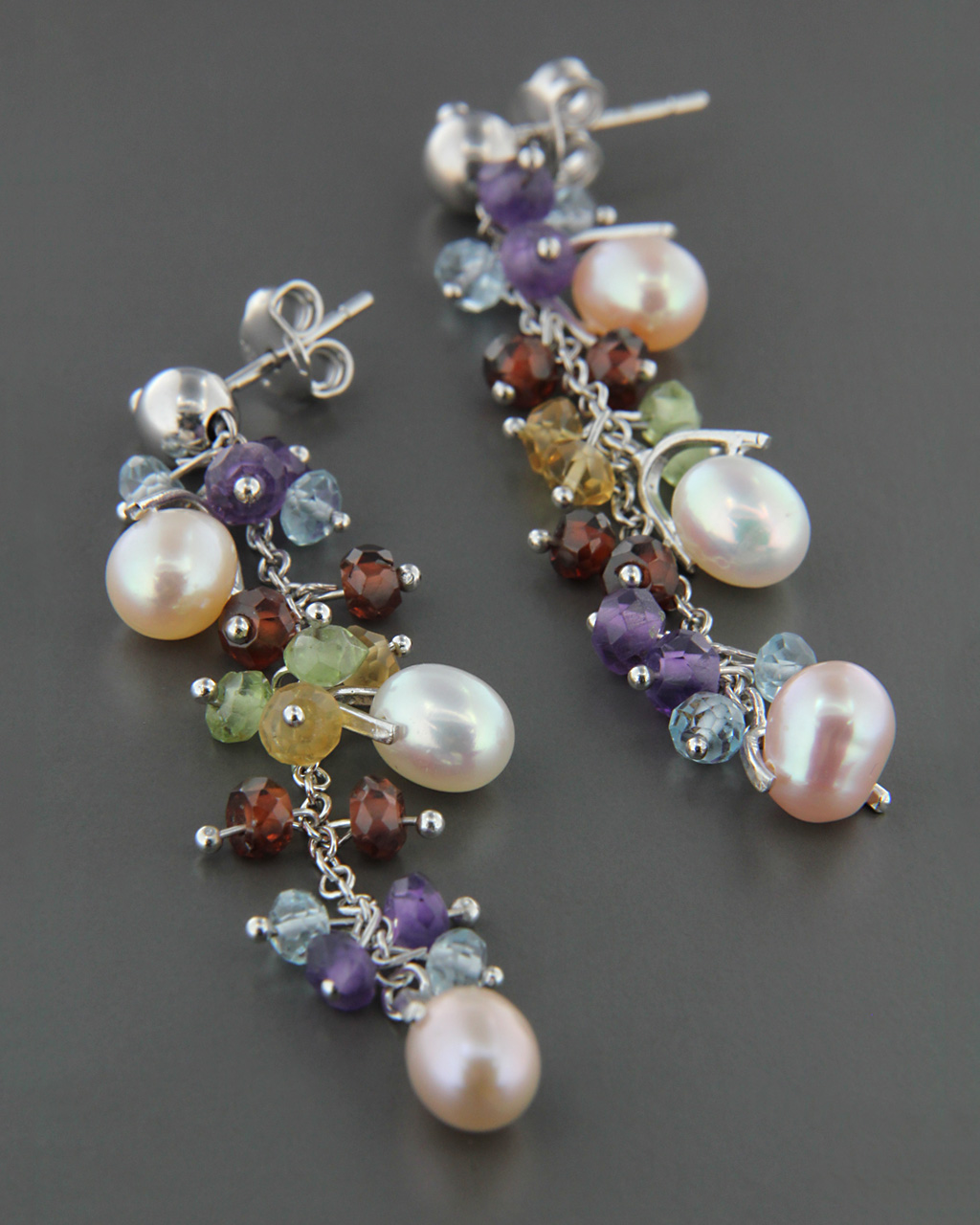 Σκουλαρίκια κρεμαστά χρυσά Κ18 με Αμέθυστο, ?κουαμαρίνα, Τουρμαλ   γυναικα σκουλαρίκια σκουλαρίκια ημιπολύτιμοι λίθοι