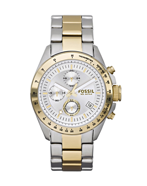 Fossil Chrono Silver Dial Two Tone Stainless Steel CH2790