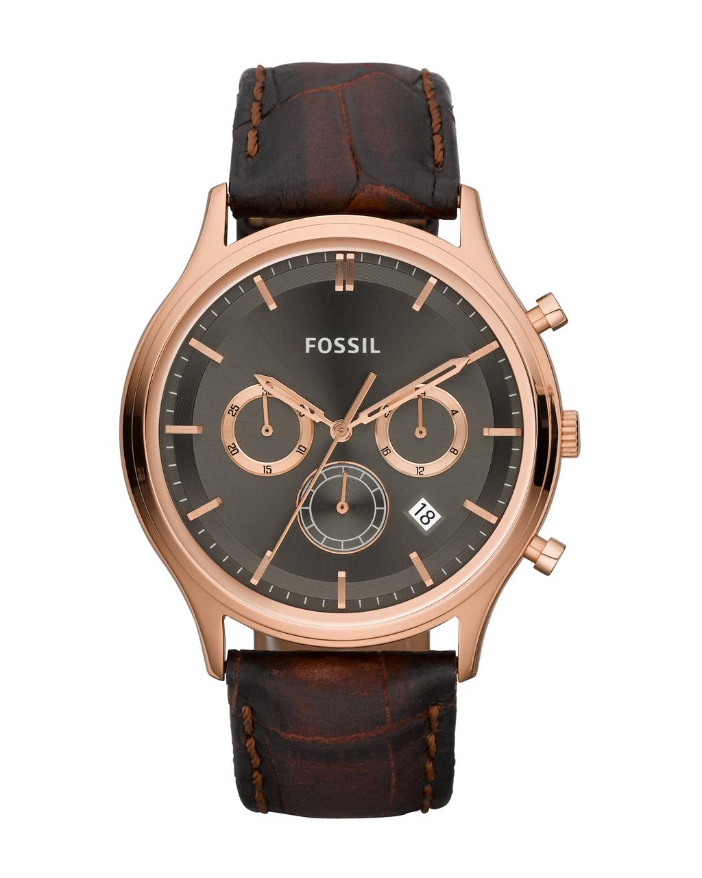 Fossil Ansel Chronograph Brown Leather Strap FS4639   προσφορεσ ρολόγια ρολόγια από 100 έως 300ε