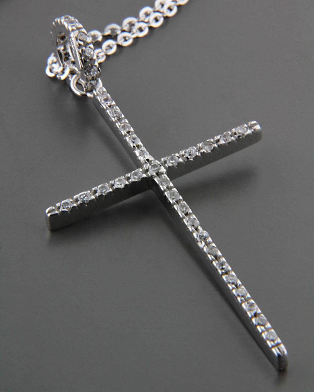 Σταυρός λευκόχρυσος Κ18 με Ζιργκόν   παιδι βαπτιστικοί σταυροί βαπτιστικοί σταυροί για κορίτσι