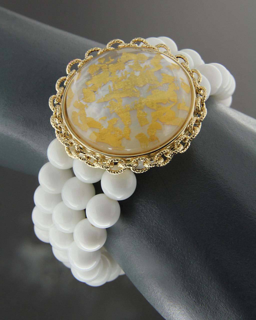 Βραχιόλι χρυσό Κ14 με Quartz   γυναικα βραχιόλια βραχιόλια χρυσά