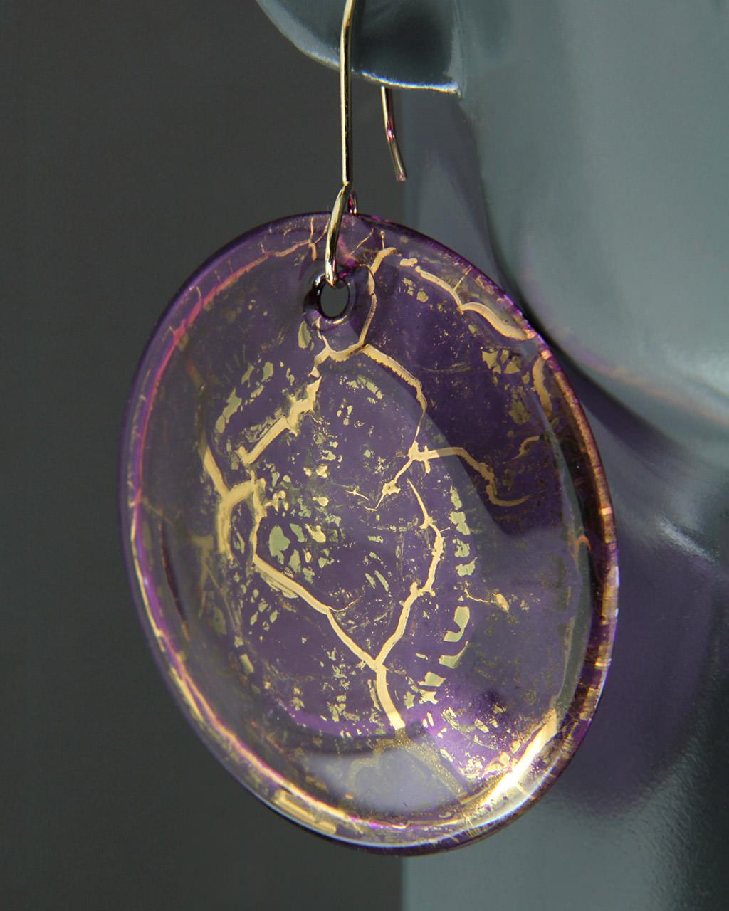 Σκουλαρίκια Κρίκοι χρυσά Κ14 με Murano   γυναικα σκουλαρίκια σκουλαρίκια ημιπολύτιμοι λίθοι