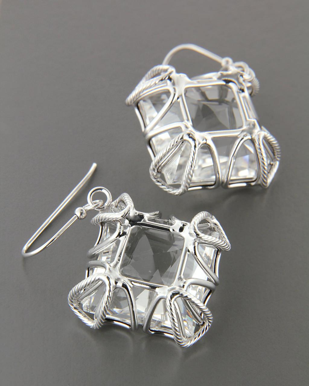 Σκουλαρίκια λευκόχρυσα Κ14 με Quartz   γυναικα σκουλαρίκια σκουλαρίκια ημιπολύτιμοι λίθοι