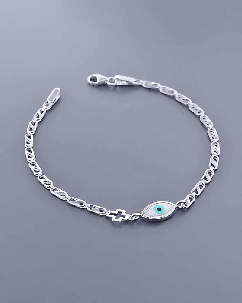 Παιδικό βραχιόλι λευκόχρυσο Κ9 με Φίλντισι   κοσμηματα κοσμήματα με ματάκι