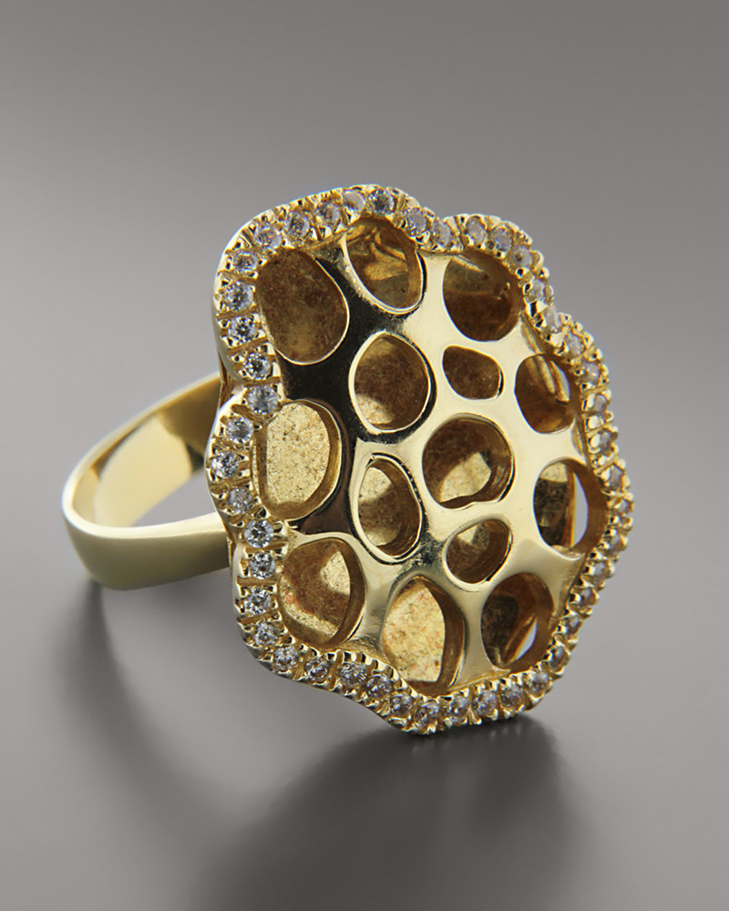 Δαχτυλίδι από χρυσό Κ14 με Ζιργκόν   γυναικα δαχτυλίδια δαχτυλίδια χρυσά