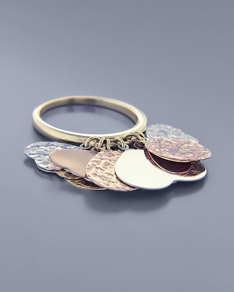 Τρίχρωμο δαχτυλίδι χρυσό, ροζ χρυσό και λευκόχρυσο Κ14   γυναικα δαχτυλίδια δαχτυλίδια ροζ χρυσό