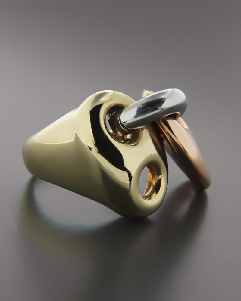 Τρίχρωμο δαχτυλίδι χρυσό, ροζ χρυσό και λευκόχρυσο Κ14   γυναικα δαχτυλίδια δαχτυλίδια λευκόχρυσα