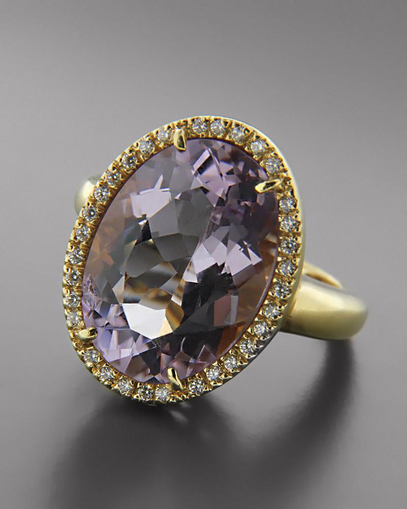 Δαχτυλίδι χρυσό Κ18 με Αμέθυστο και Ζιργκόν   γυναικα δαχτυλίδια δαχτυλίδια χρυσά