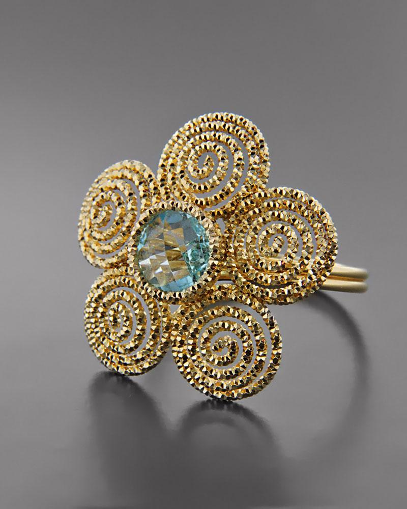 Δαχτυλίδι χρυσό Κ14 με Τοπάζι