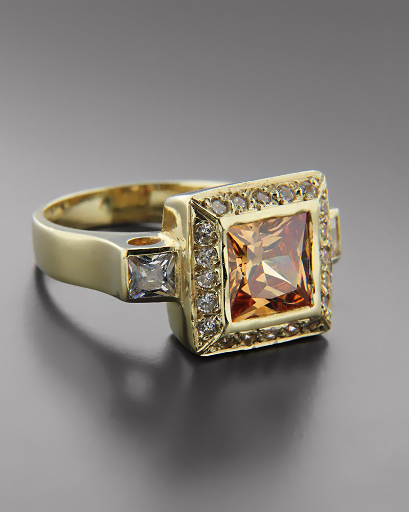 Δαχτυλίδι γυναικείο χρυσό Κ14 με Τοπάζι & Ζιργκόν   γυναικα δαχτυλίδια δαχτυλίδια χρυσά
