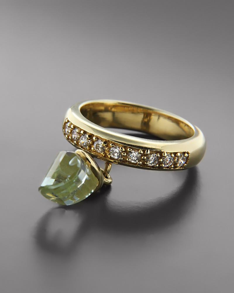 Δαχτυλίδι χρυσό Κ14 με Τοπάζι και Ζιργκόν   κοσμηματα δαχτυλίδια δαχτυλίδια ημιπολύτιμοι λίθοι