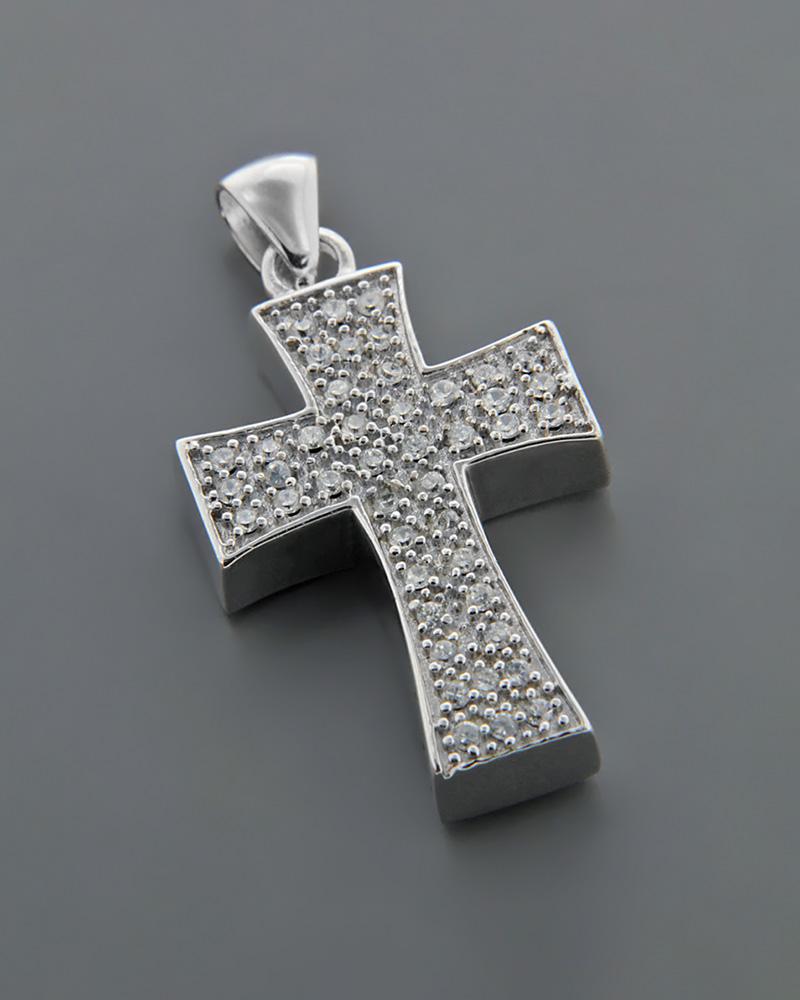 Σταυρός Βάπτισης ασημένιος 925 με Ζιργκόν   κοσμηματα κρεμαστά κολιέ κρεμαστά κολιέ ασημένια