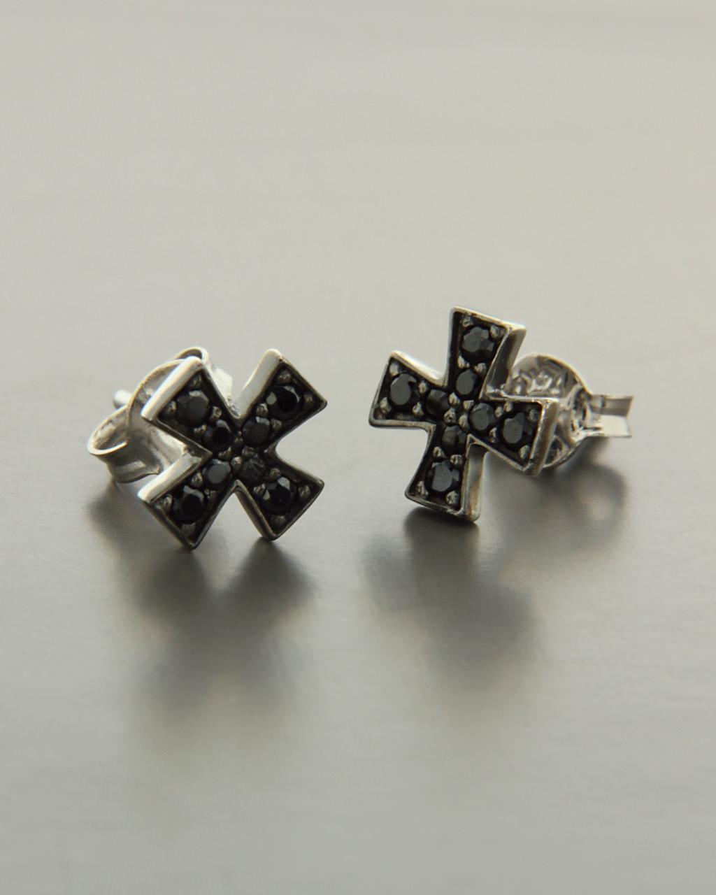 Σκουλαρίκια σταυροί λευκόχρυσα Κ14 με Ζιργκόν   γυναικα σκουλαρίκια σκουλαρίκια λευκόχρυσα