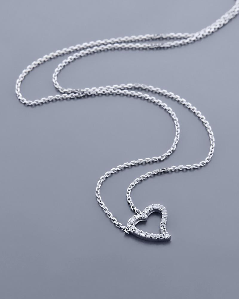 Κολιέ καρδιά λευκόχρυσο Κ14 με Ζιργκόν   κοσμηματα κρεμαστά κολιέ κρεμαστά κολιέ λευκόχρυσα