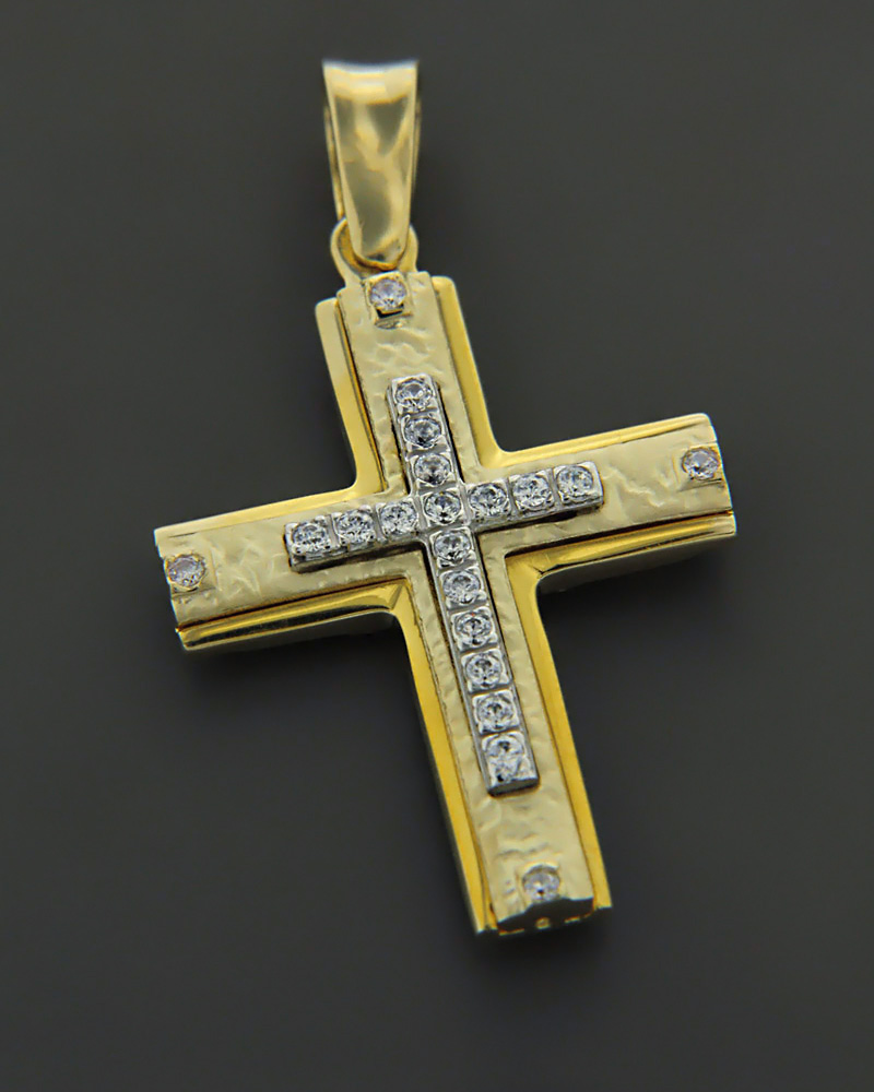 Σταυρός από κίτρινο & λευκόχρυσο Κ9 με Ζιργκόν   κοσμηματα σταυροί σταυροί χρυσοί