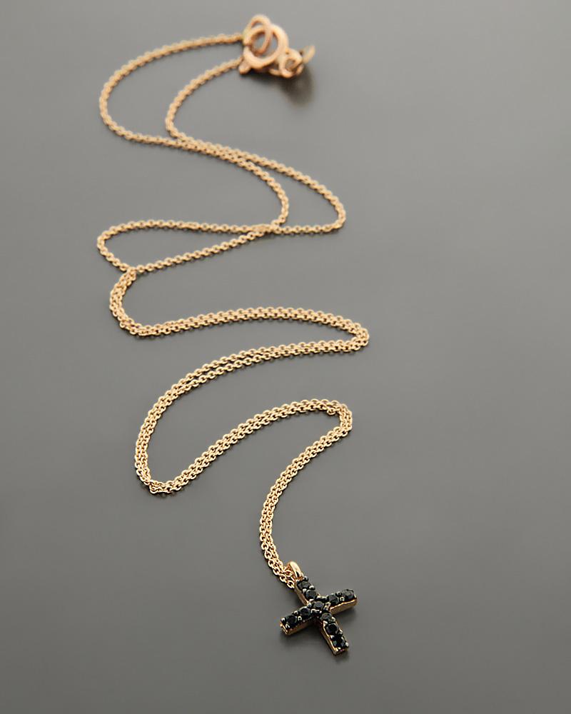 Σταυρός ροζ χρυσό Κ14 με μαύρα Ζιργκόν   κοσμηματα σταυροί με αλυσίδα