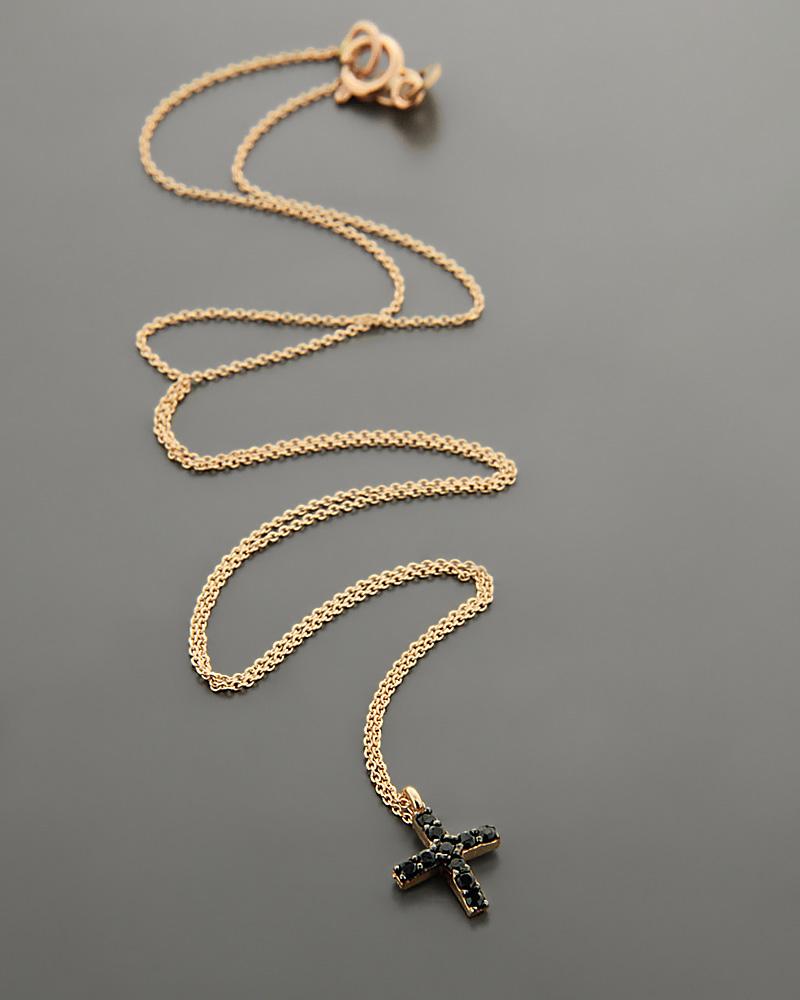 Σταυρός ροζ χρυσό Κ14 με μαύρα Ζιργκόν  a8d70f56813