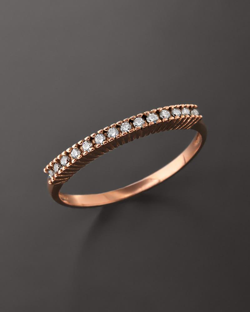 Δαχτυλίδι σειρέ ροζ χρυσό Κ14 με Ζιργκόν   κοσμηματα δαχτυλίδια δαχτυλίδια σειρέ