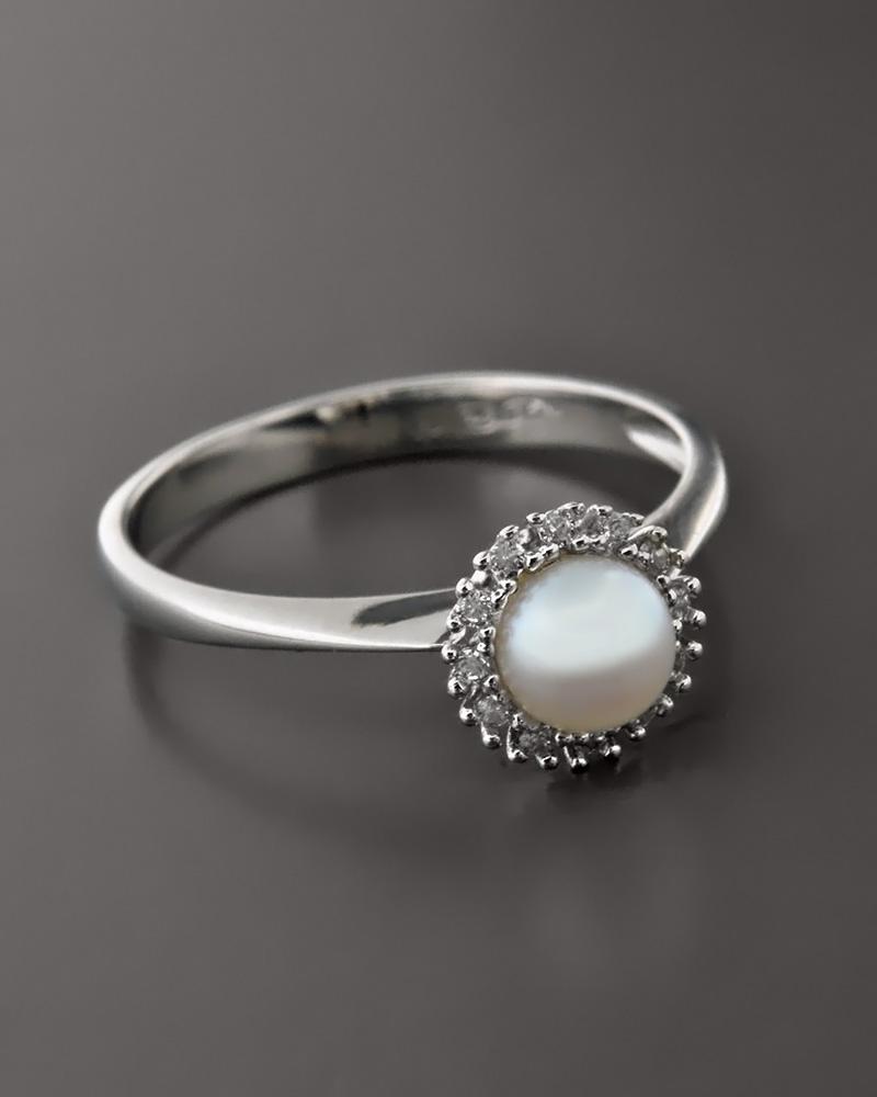 Δαχτυλίδι λευκόχρυσο Κ14 με Μαργαριτάρι και Ζιργκόν   γυναικα δαχτυλίδια δαχτυλίδια λευκόχρυσα