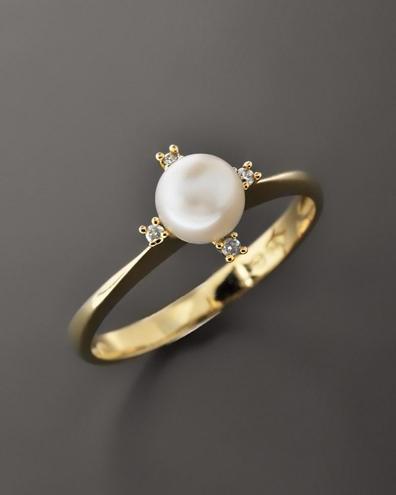 Δαχτυλίδι χρυσό Κ14 με Μαργαριτάρι & Ζιργκόν   γυναικα δαχτυλίδια δαχτυλίδια με μαργαριτάρια