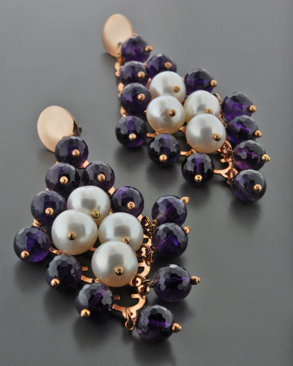 Σκουλαρίκια ασημένια 925 με Αμέθυστο & Μαργαριτάρια   γυναικα σκουλαρίκια σκουλαρίκια μαργαριτάρια
