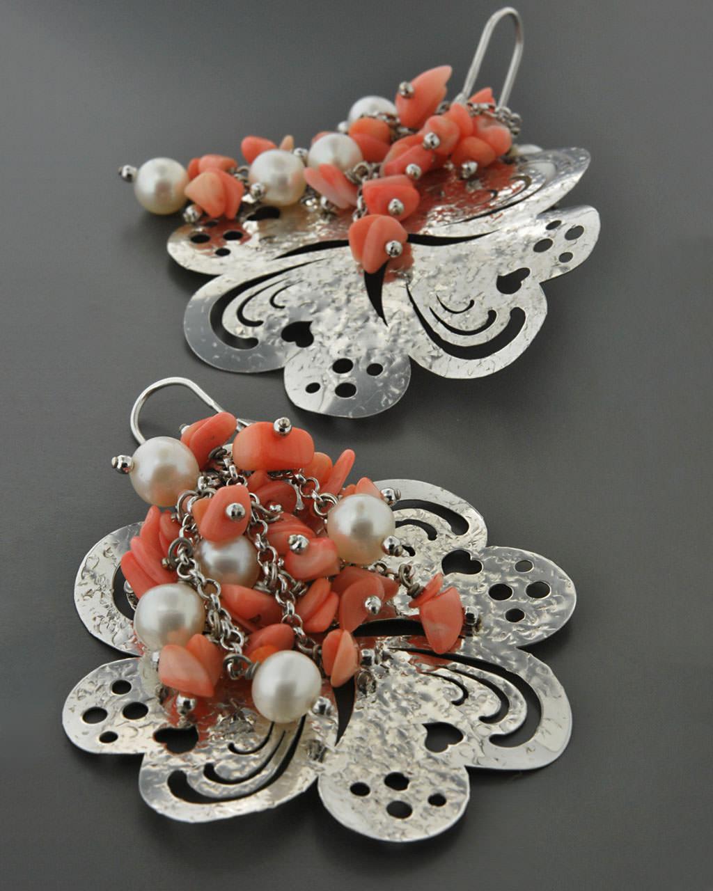 Σκουλαρίκια ασημένια 925 με Κοράλι & Μαργαριτάρια   γυναικα σκουλαρίκια σκουλαρίκια ασημένια