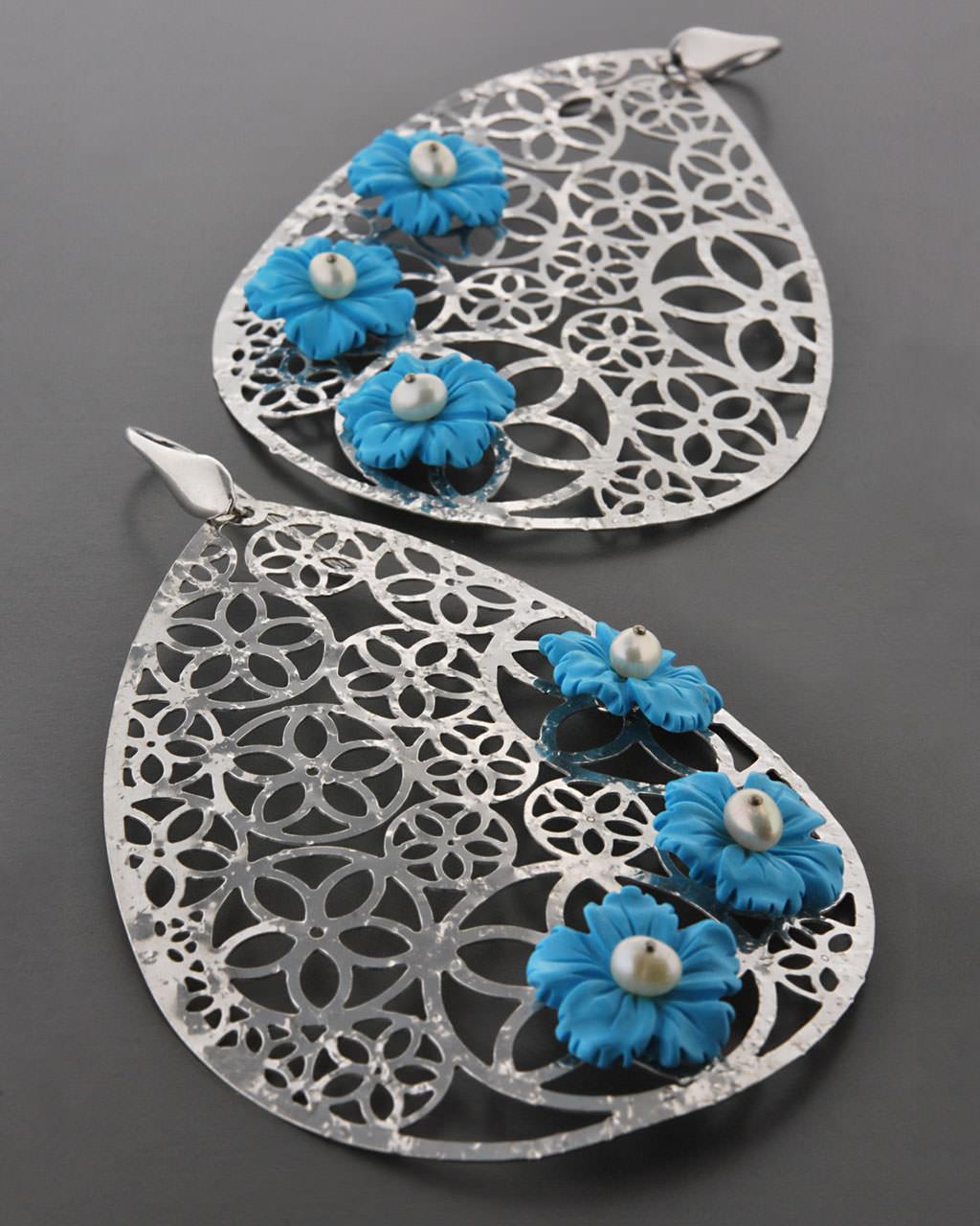 Σκουλαρίκια ασημένια 925 με Τυρκουάζ & Μαργαριτάρια   γυναικα σκουλαρίκια σκουλαρίκια ασημένια