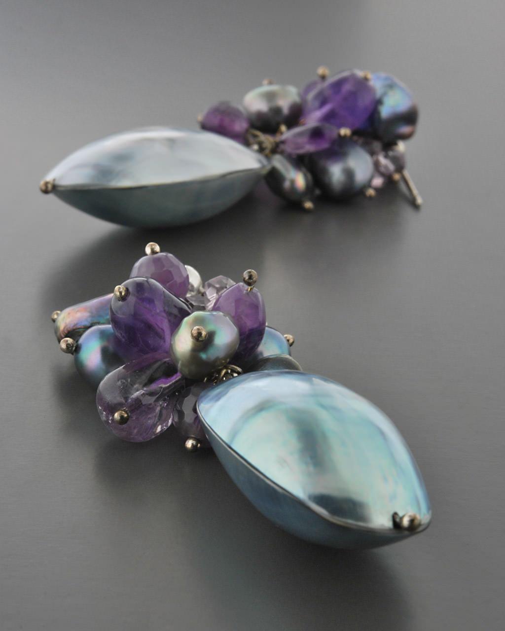 Σκουλαρίκια ασημένια 925 με Αμέθυστο & Μαργαριτάρια   γυναικα σκουλαρίκια σκουλαρίκια ασημένια