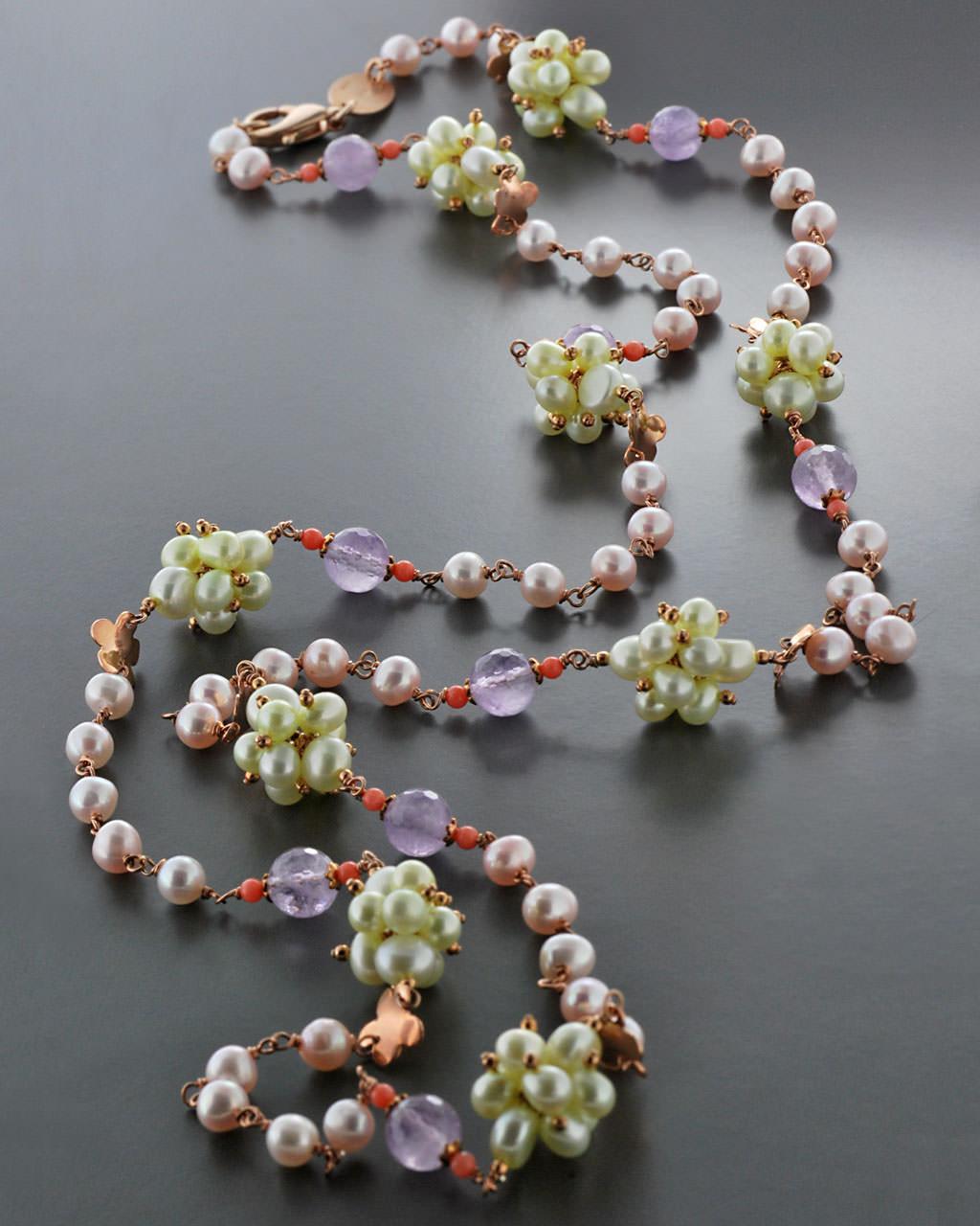 Κολιέ ασημένιο 925 με Αμέθυστο, Κοράλι & Μαργαριτάρια   γυναικα κρεμαστά κολιέ κρεμαστά κολιέ ημιπολύτιμοι λίθοι