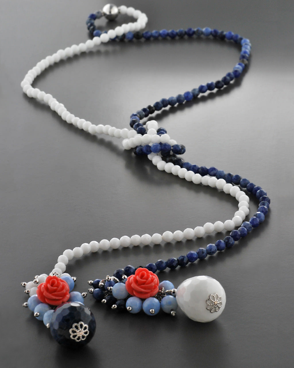 Κολιέ ασημένιο 925 με Σοδαλίτης, Όνυχα & Κοράλι   γαμοσ δώρα κουμπάρου κουμπαρα