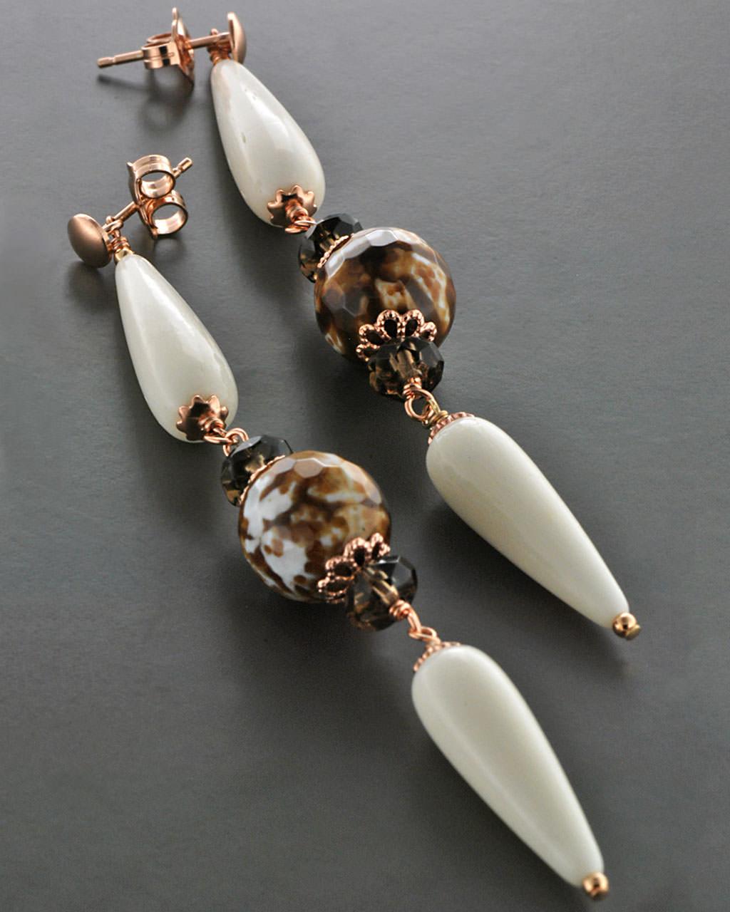 Σκουλαρίκια ασημένια 925 με Κόκκαλο & Αχάτη   γυναικα σκουλαρίκια σκουλαρίκια ημιπολύτιμοι λίθοι