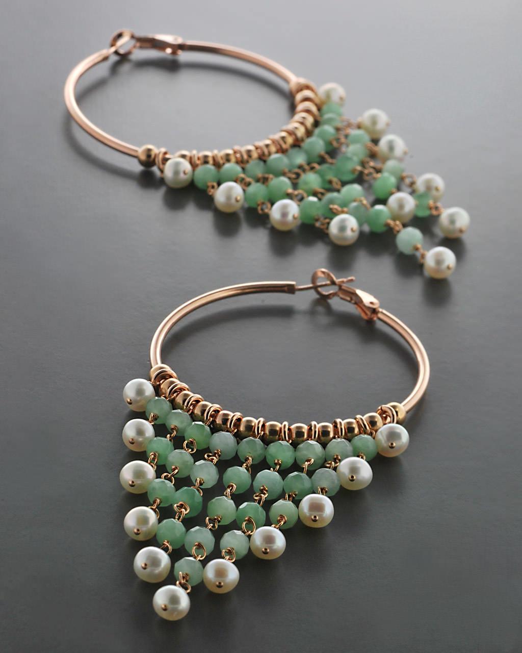 Σκουλαρίκια Κρίκοι ασημένια 925 με Μαργαριτάρια & Νεφρίτη   γυναικα σκουλαρίκια σκουλαρίκια ασημένια