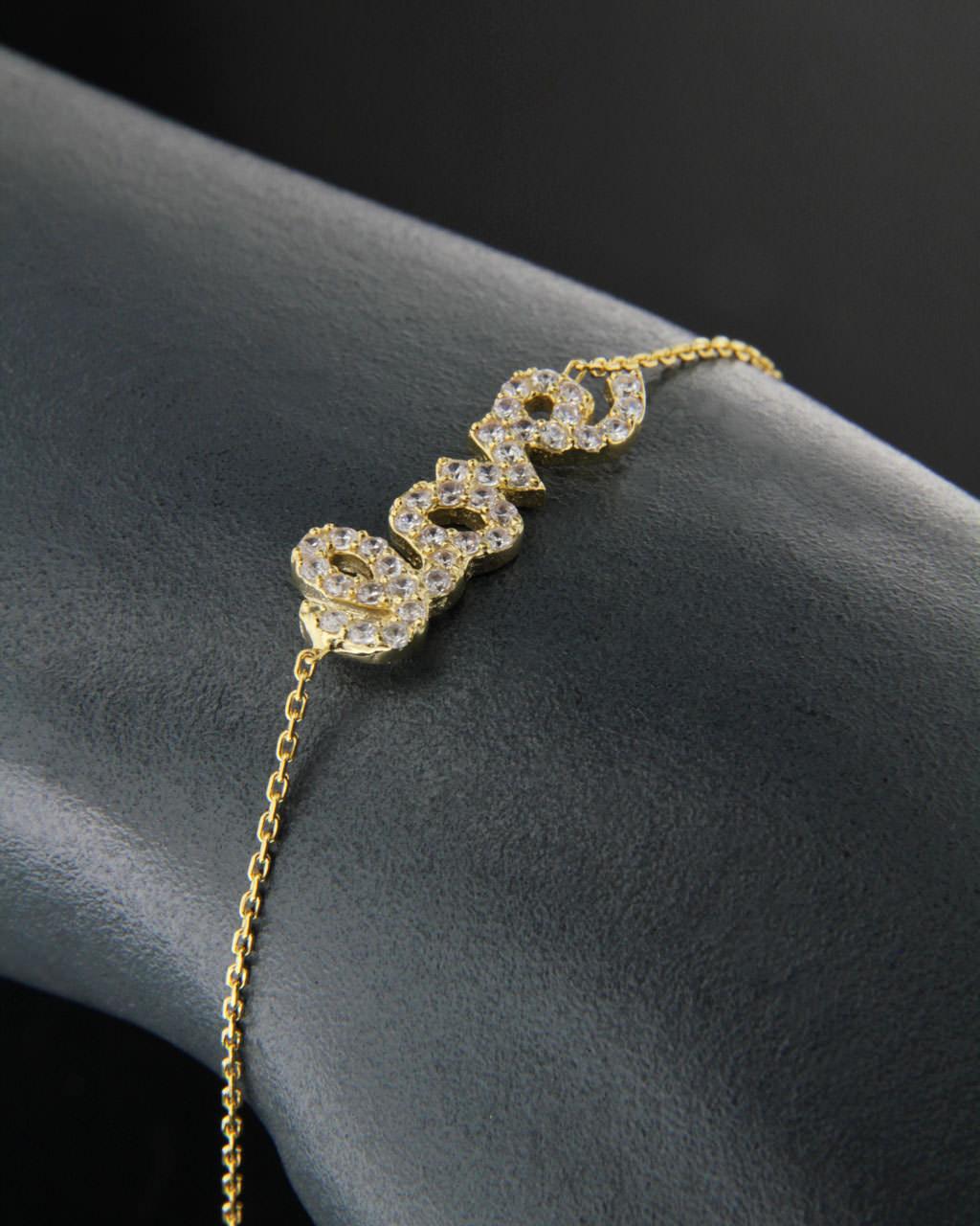 Επίχρυσο ασημένιο βραχιόλι 925 με Ζιργκόν   γυναικα βραχιόλια βραχιόλια fashion