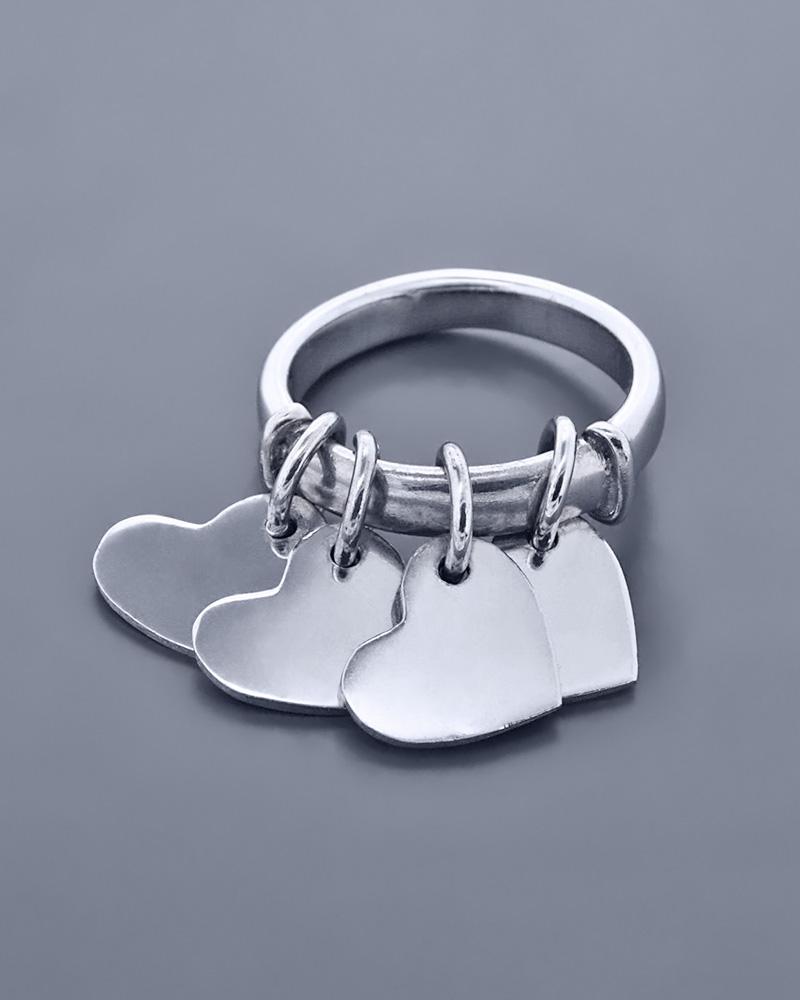 Δαχτυλίδι με καρδιές ασημένιο 925   γυναικα κοσμήματα με καρδιές