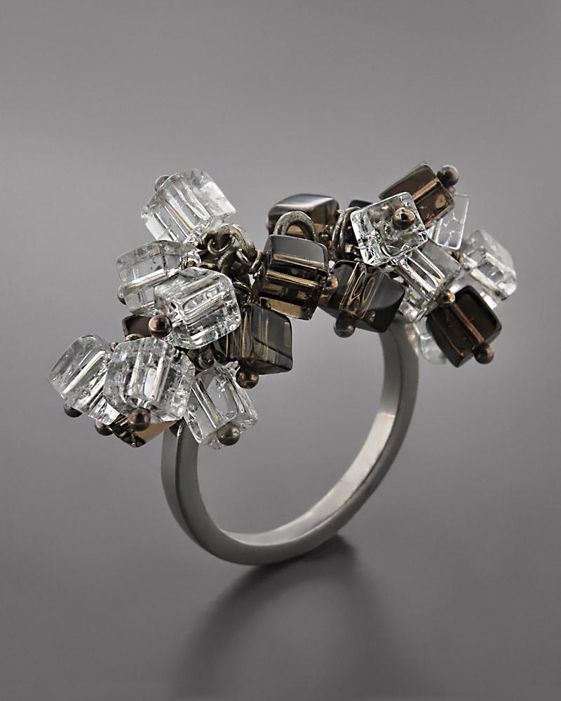 Δαχτυλίδι ασημένιο 925 με Τοπάζι & Κρύσταλλα   γυναικα δαχτυλίδια δαχτυλίδια ημιπολύτιμοι λίθοι
