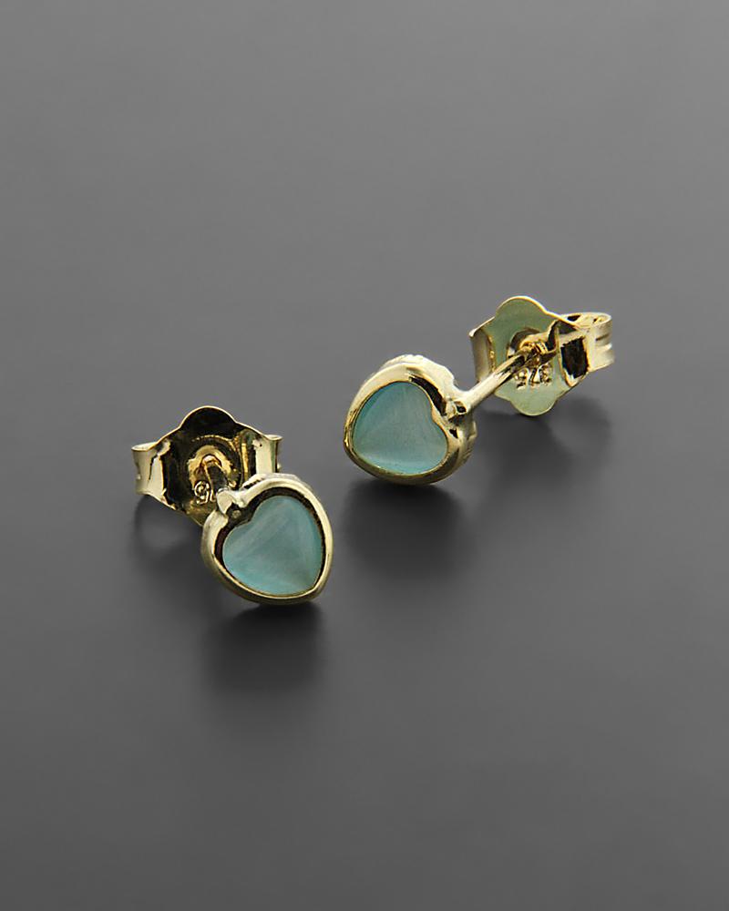 Σκουλαρίκια από χρυσό Κ9 με Τυρκουάζ   νεεσ αφιξεισ κοσμήματα παιδικά