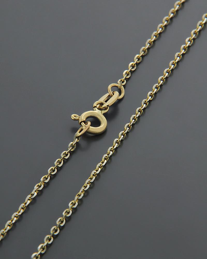 Αλυσίδα λαιμού χρυσή & λευκόχρυση Κ14 55cm   γυναικα αλυσίδες λαιμού αλυσίδες δίχρωμες