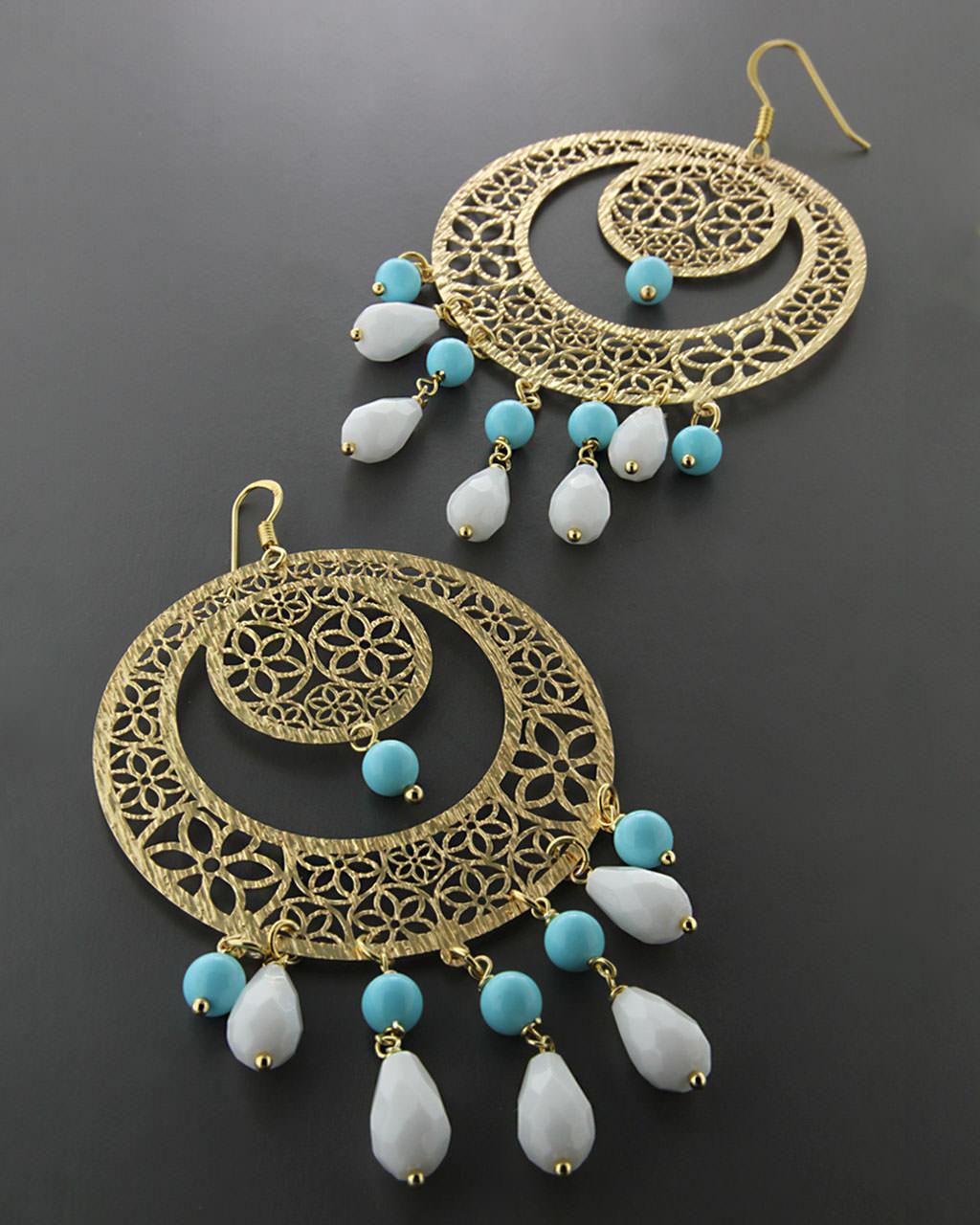 Σκουλαρίκια ασημένια 925 με Τυρκουάζ & Όνυχα   γυναικα σκουλαρίκια σκουλαρίκια ασημένια