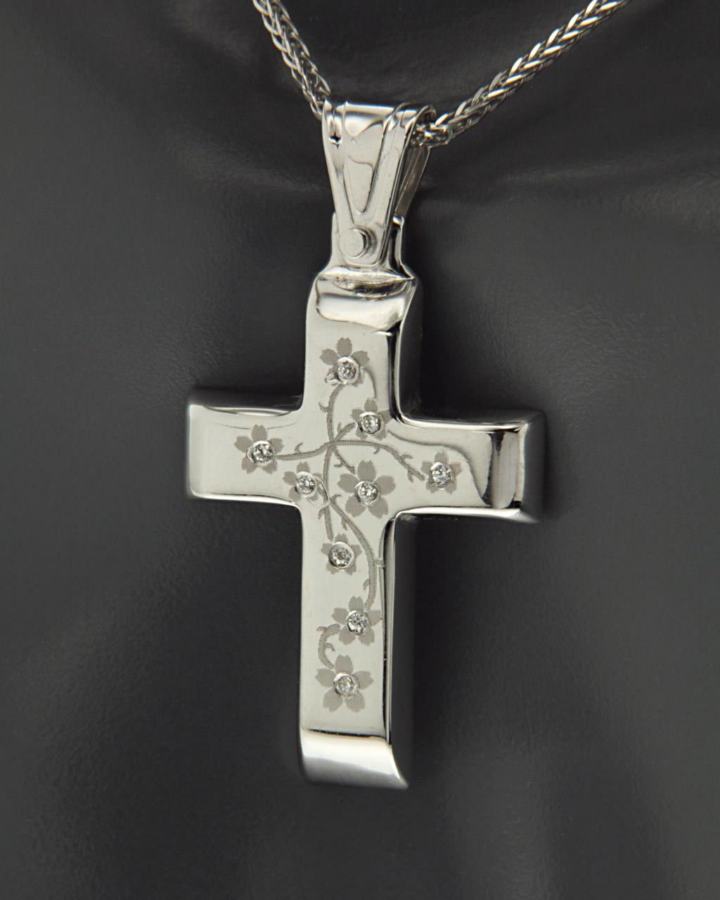 Σταυρός λευκόχρυσοs Κ14 με Ζιργκόν   παιδι βαπτιστικοί σταυροί βαπτιστικοί σταυροί για κορίτσι