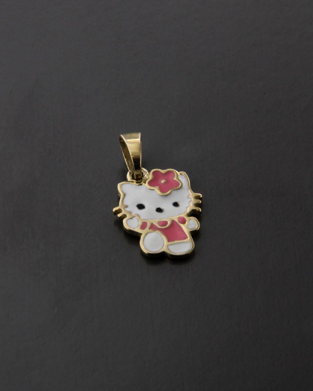 Κρεμαστό ?Hello Kitty? χρυσό Κ9 με Σμάλτο   παιδι κρεμαστά κολιέ παιδικά