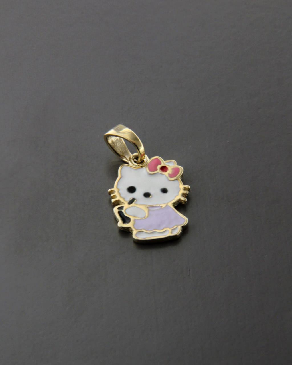 """Κρεμαστό """"Hello Kitty"""" χρυσό Κ9 με Σμάλτο   παιδι κρεμαστά κολιέ παιδικά"""