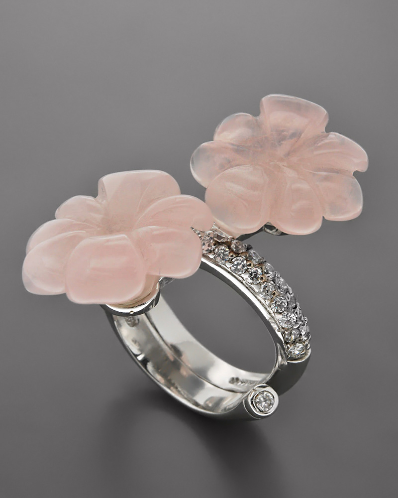 Δαχτυλίδι ασημένιο 925 με Quartz & Ζιργκόν   γυναικα δαχτυλίδια δαχτυλίδια ημιπολύτιμοι λίθοι