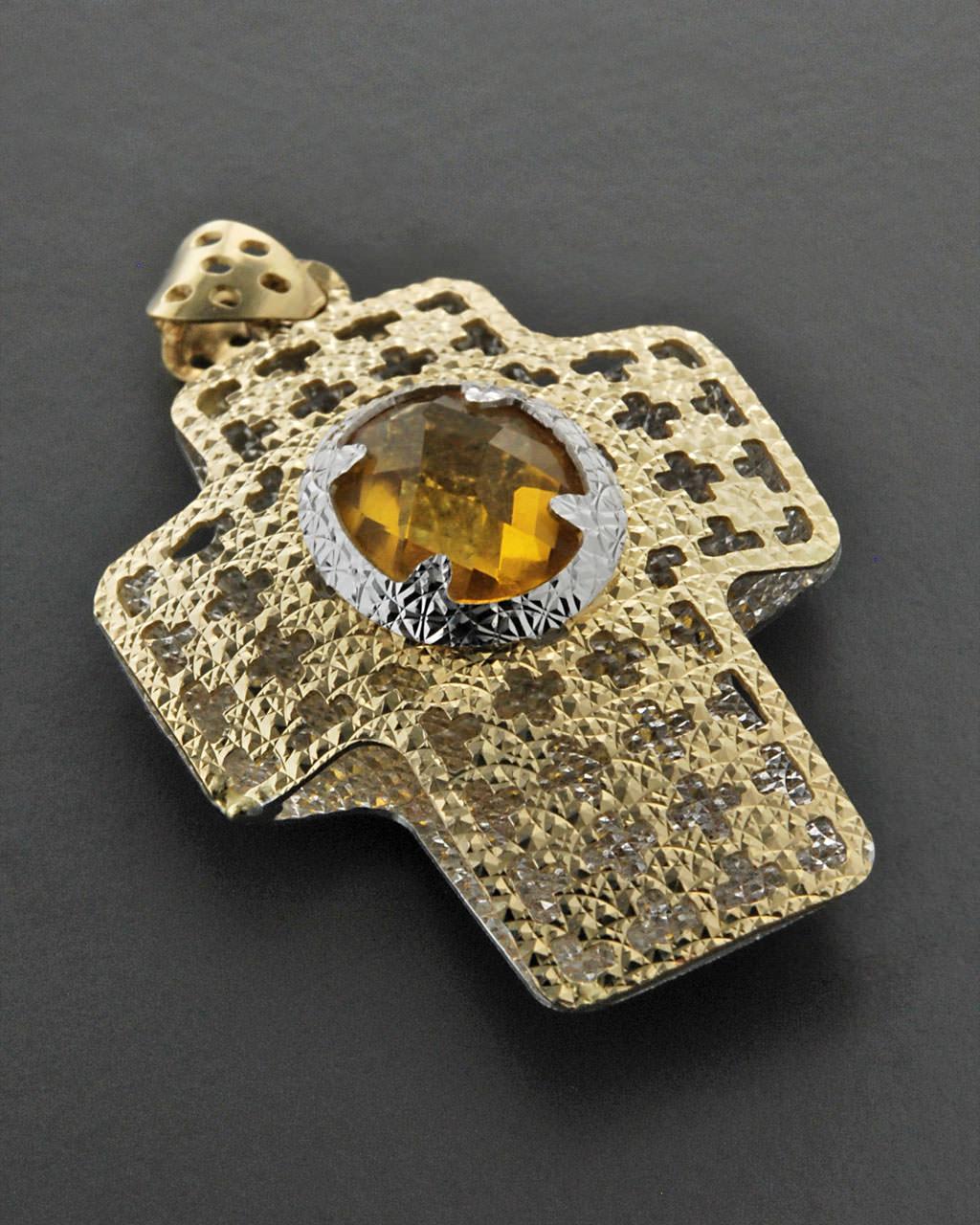 Σταυρός χρυσός & λευκόχρυσος Κ14 με Σιτρίνα   κοσμηματα σταυροί σταυροί χρυσοί