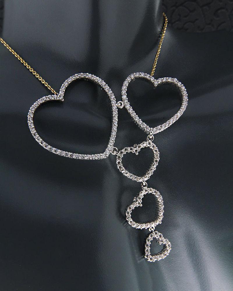 Κολιέ χρυσό & λευκόχρυσο Κ14 με Ζιργκόν   κοσμηματα κρεμαστά κολιέ κρεμαστά κολιέ καρδιές