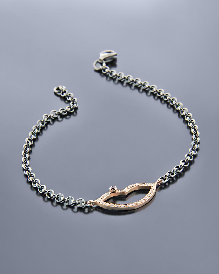Βραχιόλι ροζ χρυσό Κ9 & ασήμι 925 με Διαμάντια & Ρουμπίνι   γυναικα βραχιόλια βραχιόλια διαμάντια