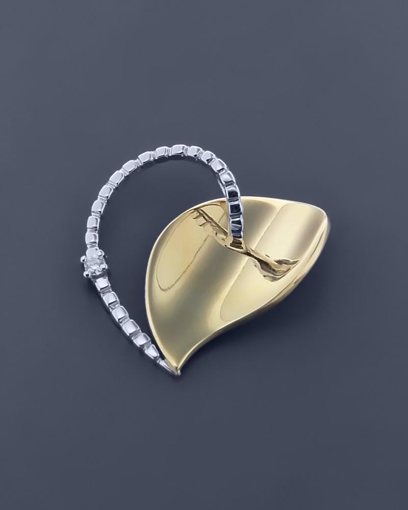Κρεμαστό χρυσό & λευκόχρυσο Κ14 με Ζιργκόν   γυναικα κρεμαστά κολιέ κρεμαστά κολιέ καρδιές